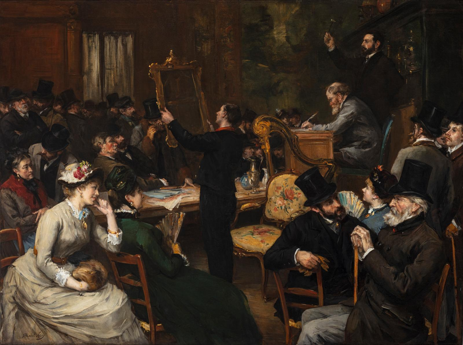 Henri Michel-Lévy (1844-1914), La Vente publique, oil on canvas, 99 x 131.4 cm. Painting presented at Fine Arts Paris 2019.Courtesy Talaba