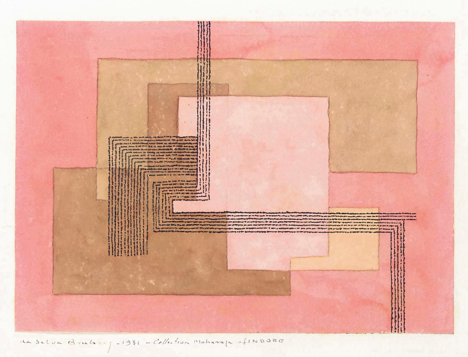 Ivan Da Silva Bruhns, carton de tapis pour le palais Manik Bagh, 1931, gouache sur papier 56 x 75,5 cm.