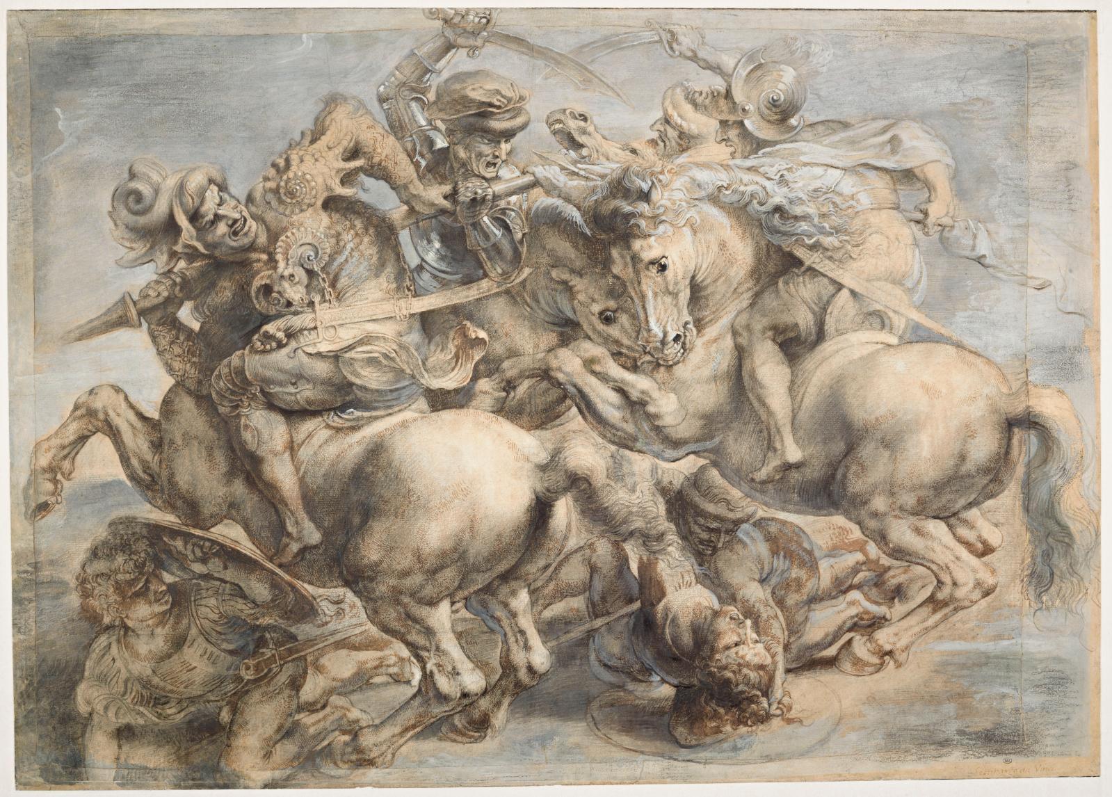 Pierre Paul Rubens(1577-1640), Copie d'après des dessins de Léonard deVinci pour la Bataille d'Anghiari, pierre noire, encre brune et gr