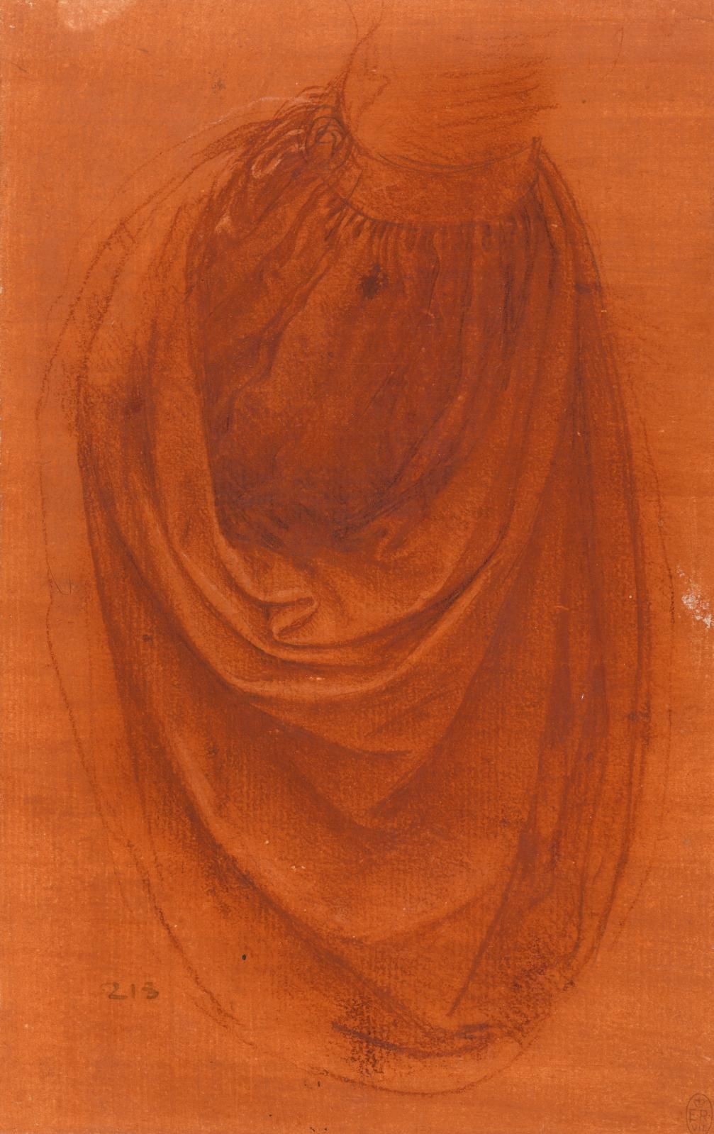 Drapé d'une manche, vers 1504-1508, sanguine, pierre noire et craie blanche sur papier préparé, 22x13,9cm (détail).