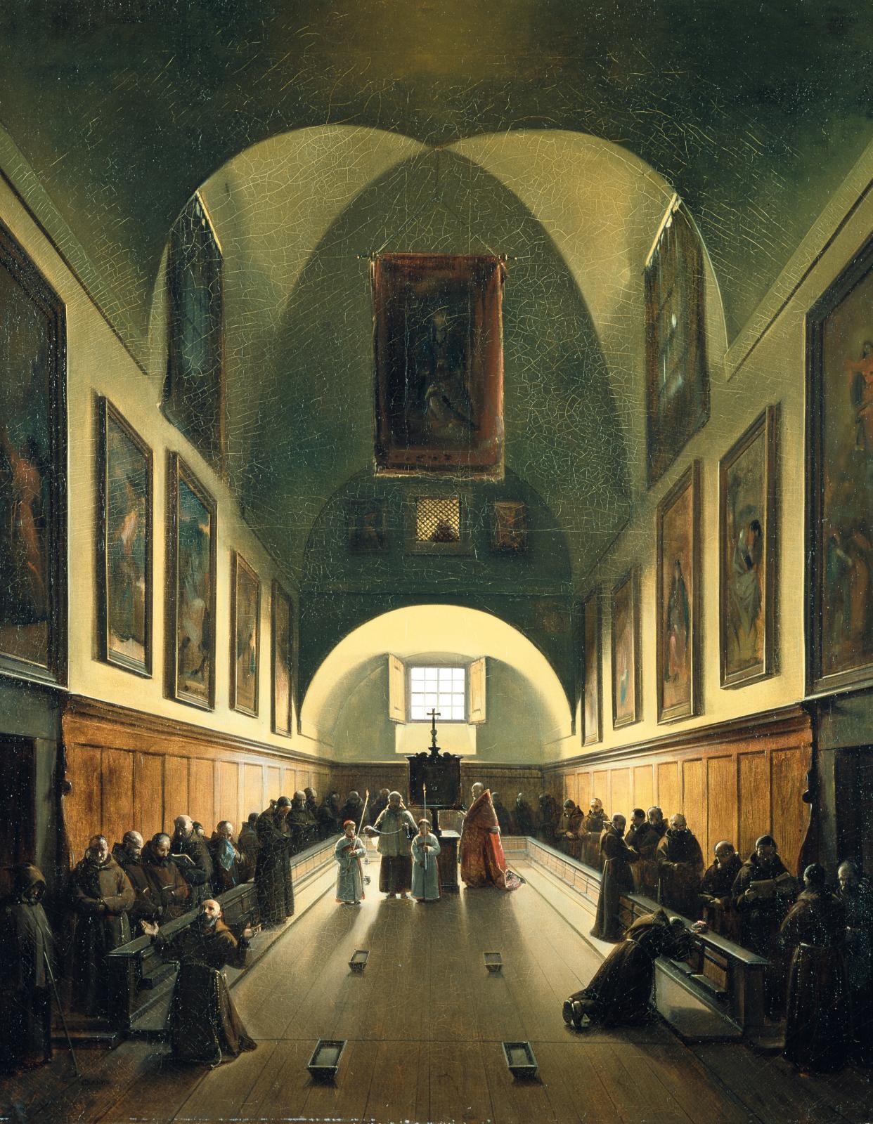 François-Marius Granet, Intérieur du chœur de l'église des Capucins, huile sur toile, 93,3x74,4cm, musée des beaux-arts de Lyon.