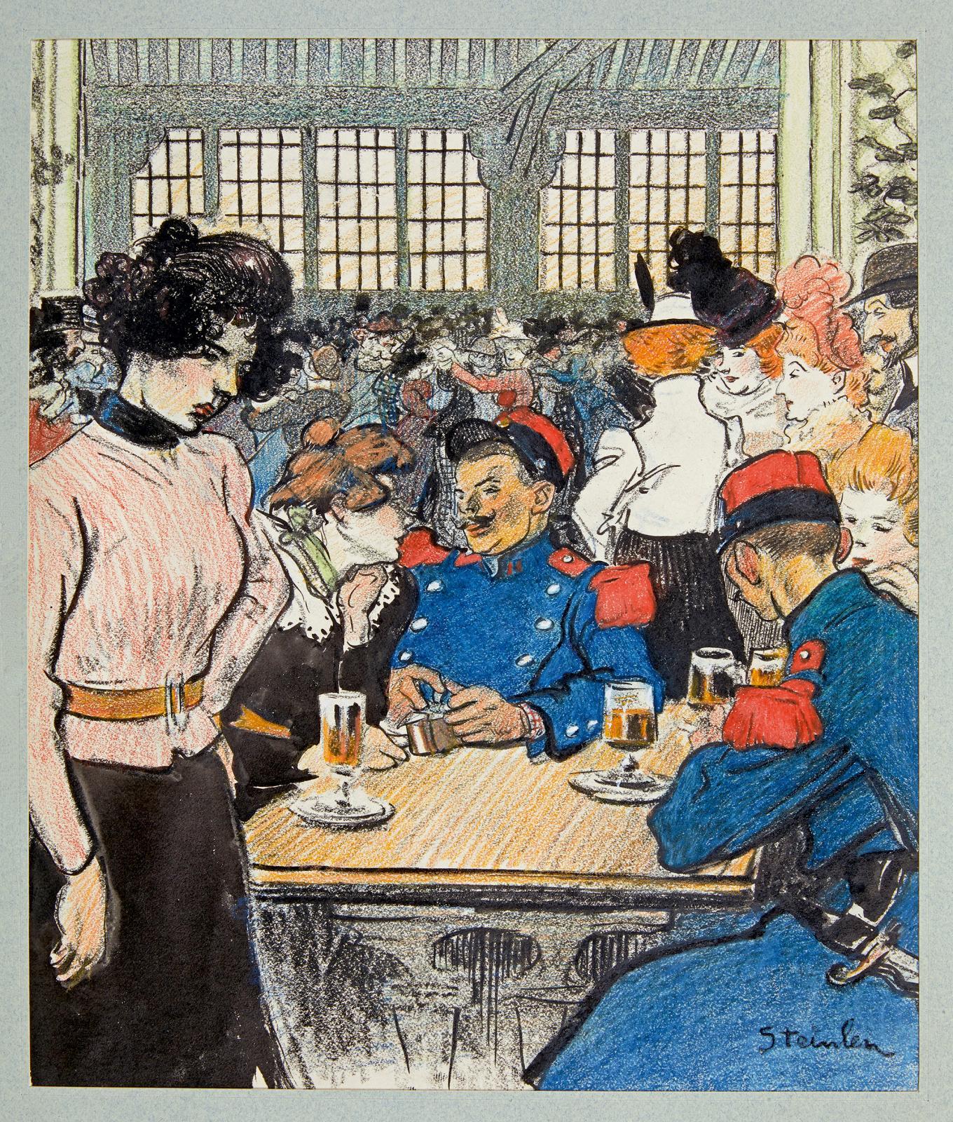 Boulevards extérieurs, nouvelle de Serge Basset, dessin original paru dans le Gil Blas illustré n°20 du 20mai 1898 (première page), cray