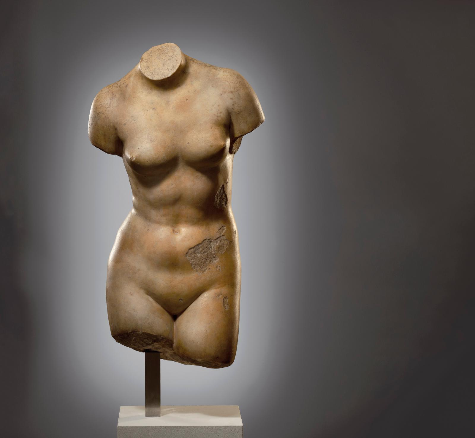 Nude torso of Aphrodite, 2nd - 1st century BC, marble, h. 50.5 cm.© Cahn International