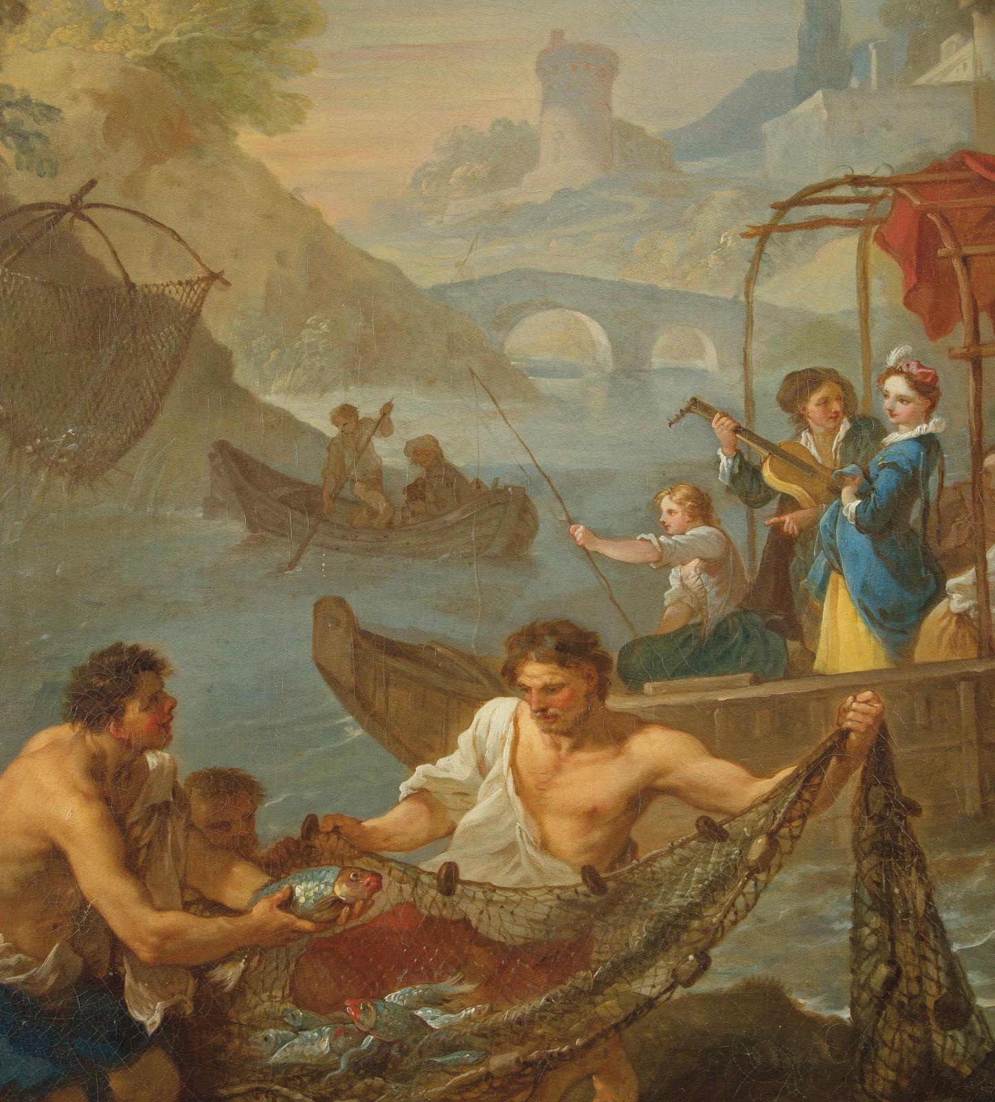 Charles-Joseph Natoire(1700-1777), La Pêche, huile sur toile anciennement circulaire, mise au cercle puis mise au rectangle, 89x94cm (détail). Est