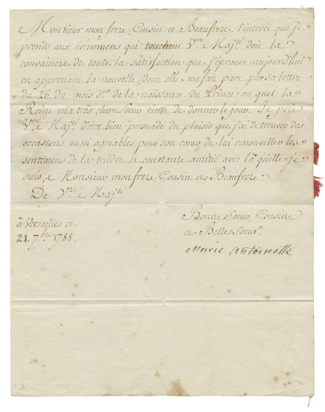 Marie-Antoinette of Austria (1755-1793), letter written by her secretary and signed by her hand addressed to her brother-in-law Ferdinand