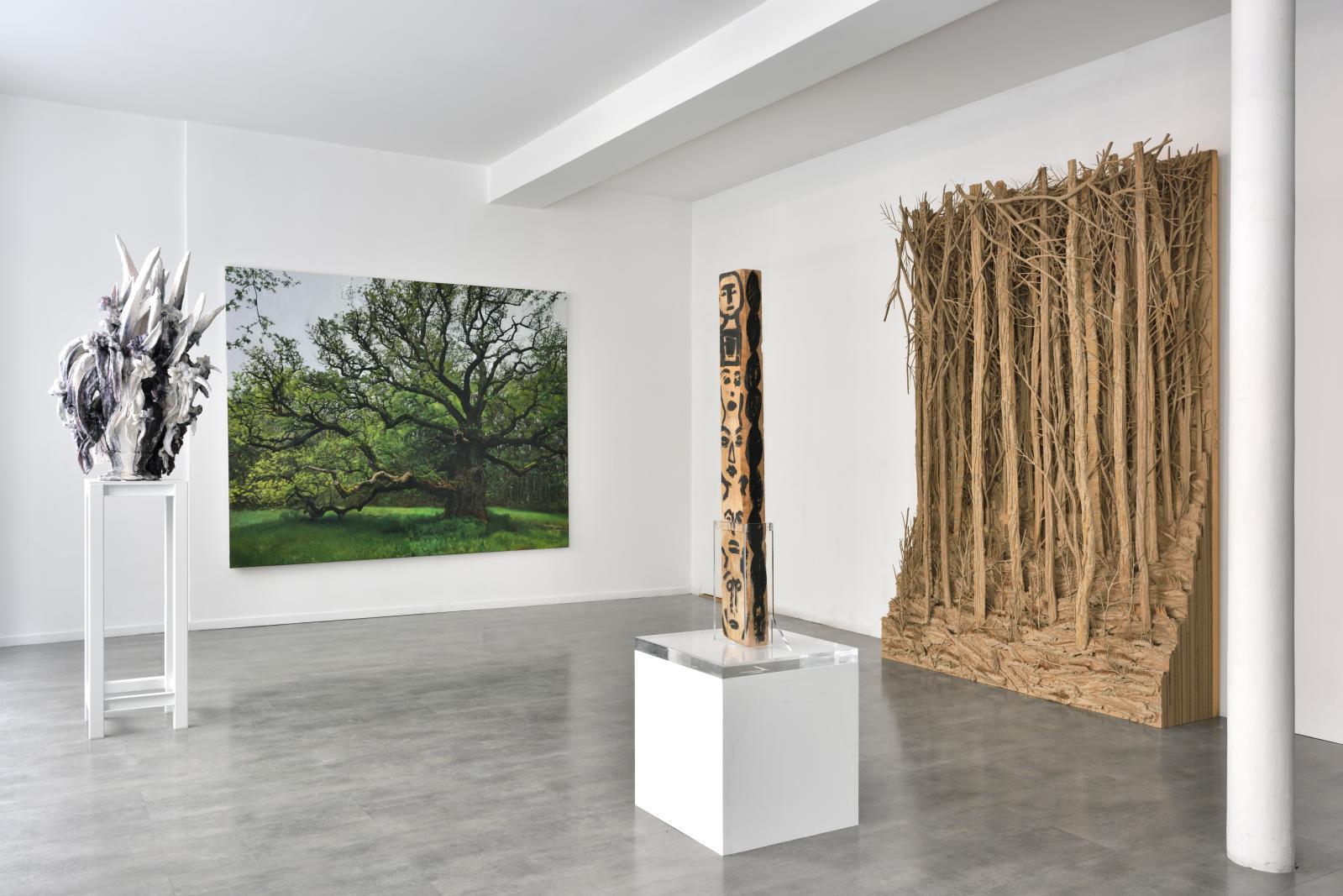 Vue de l'exposition «Woods», galerie Suzanne Tarasieve, Paris, 2019: Kriki, Light, 2019 - Shanthamani. M, Upside Down Tree, 2019.