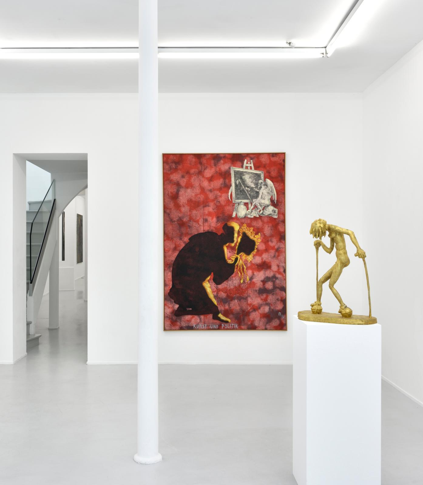 Vue de l'exposition «Jörg Immendorff. Passage» à la galerie Suzanne Tarasieve, Paris, 2019.