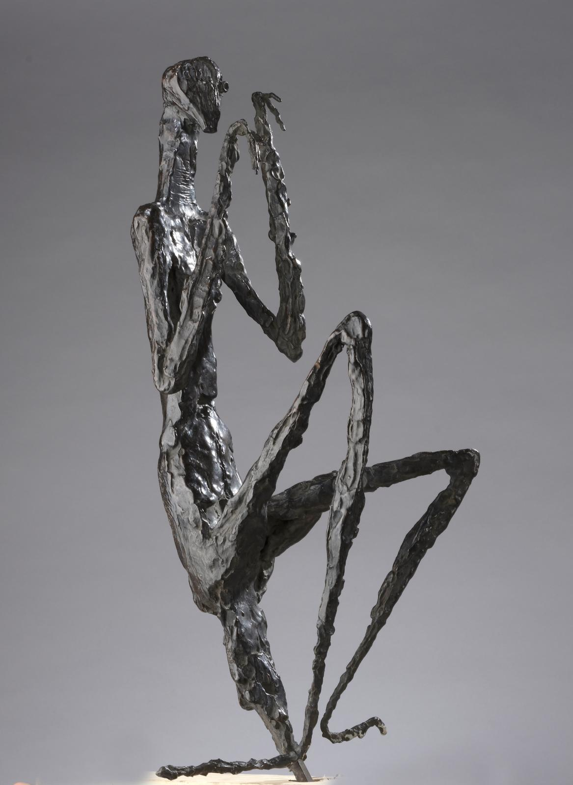 "Germaine Richier (1902–1959), La Mante moyenne, 1946, bronze proof with brown patina, justified ""HC1"", Valsuani foundry stamp, 66.5 x 26.5"