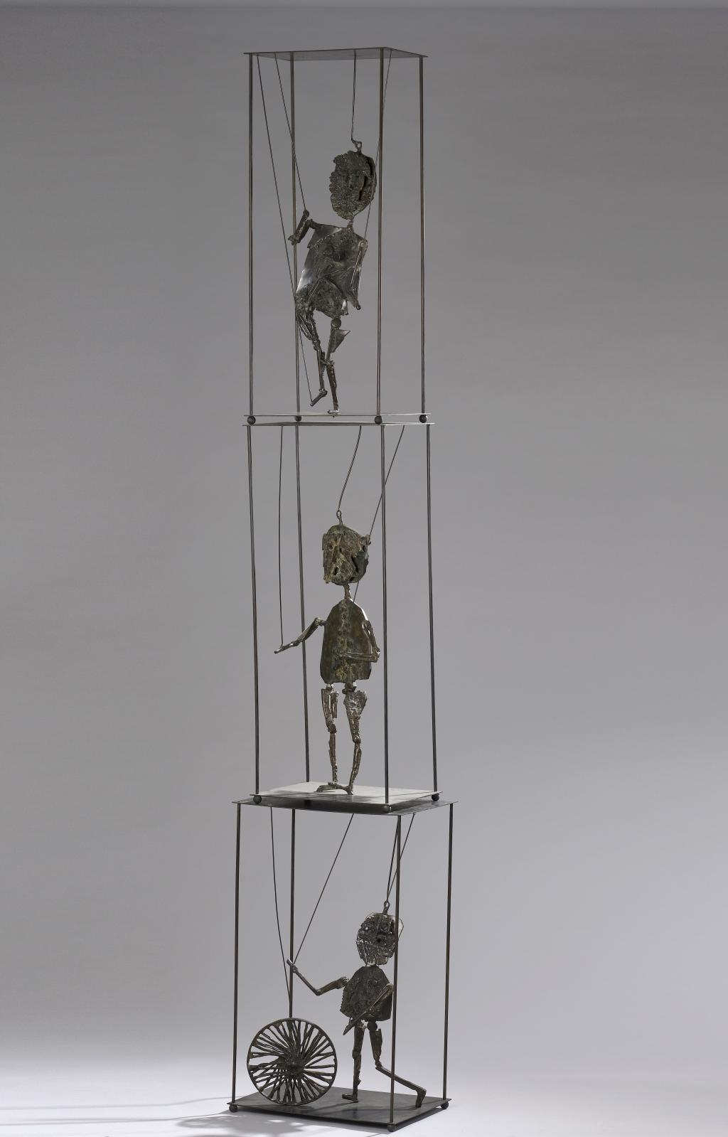 César (1921–1998), Les Marionnettes, 1955, vertical triptych comprising three bronze proofs with a brownish-green patina, each figure in a