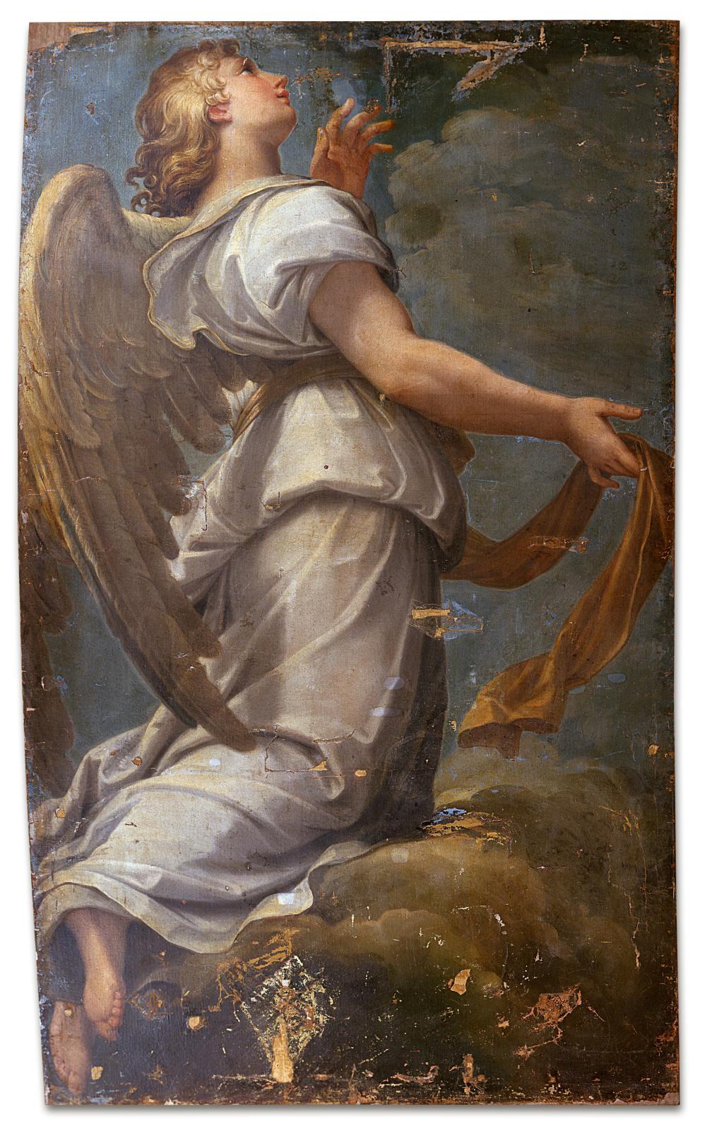 Giacomo Zoboli (1681-1767), Ange monumental: carton préparatoire pour la mosaïque à Saint-Pierre de Rome, huile sur toile, 379x223cm.