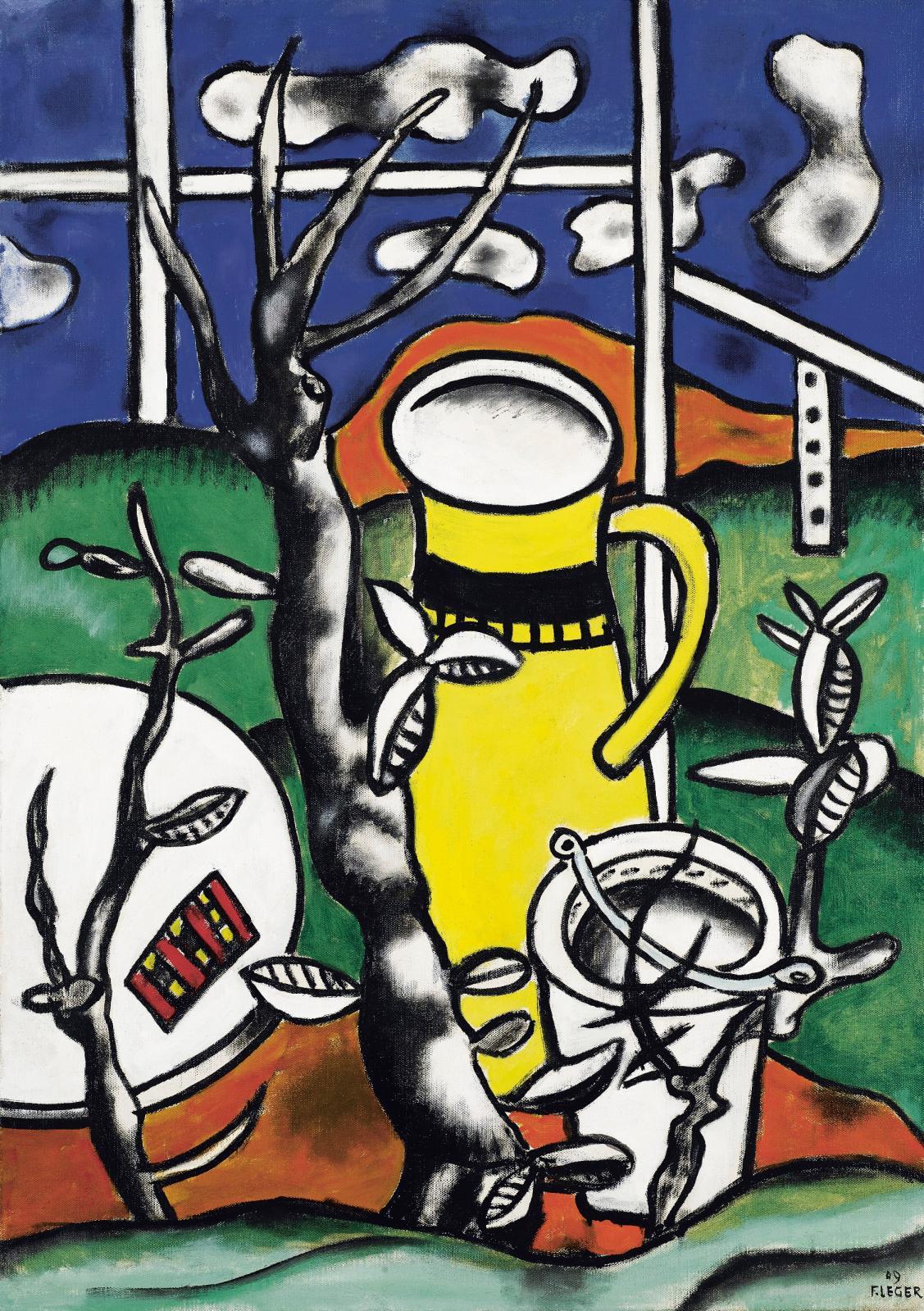 Fernand Léger, Le Vase jaune dans un paysage, 1949, huile sur toile, 91,5x65cm.