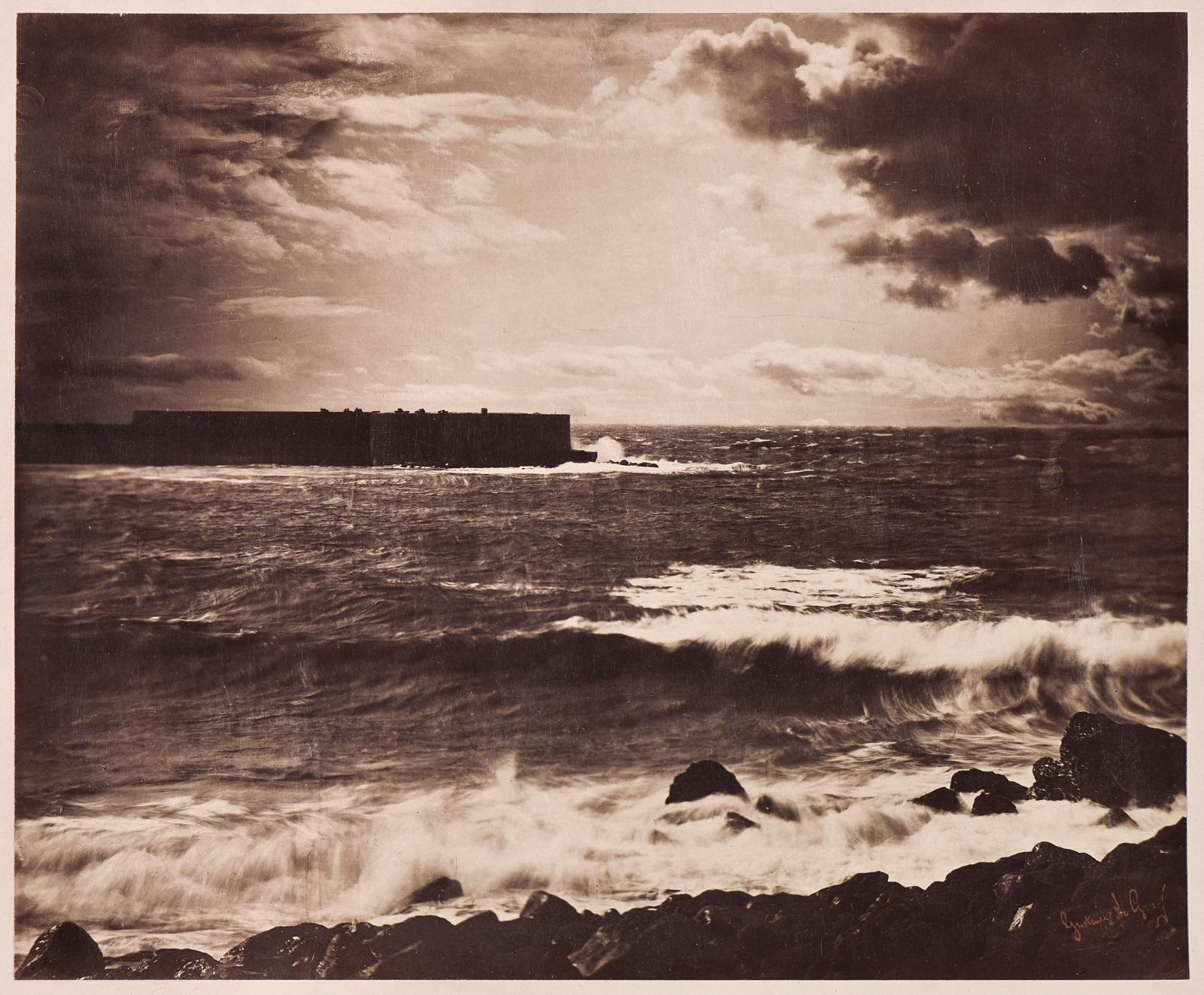 Gustave LeGray (1820-1884), Grande vague, Sète n°17, printemps 1857, tirage albuminé d'époque à partir de deux négatifs au collodion hum