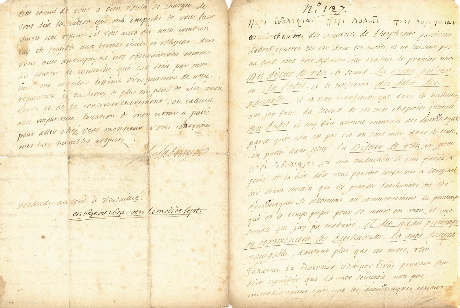 Jean de La Bruyère(1645-1696), lettre autographe, quatre pages, septembre 1690 ou 1691, adressée à Gilles Ménage. Adjugé: 52000€