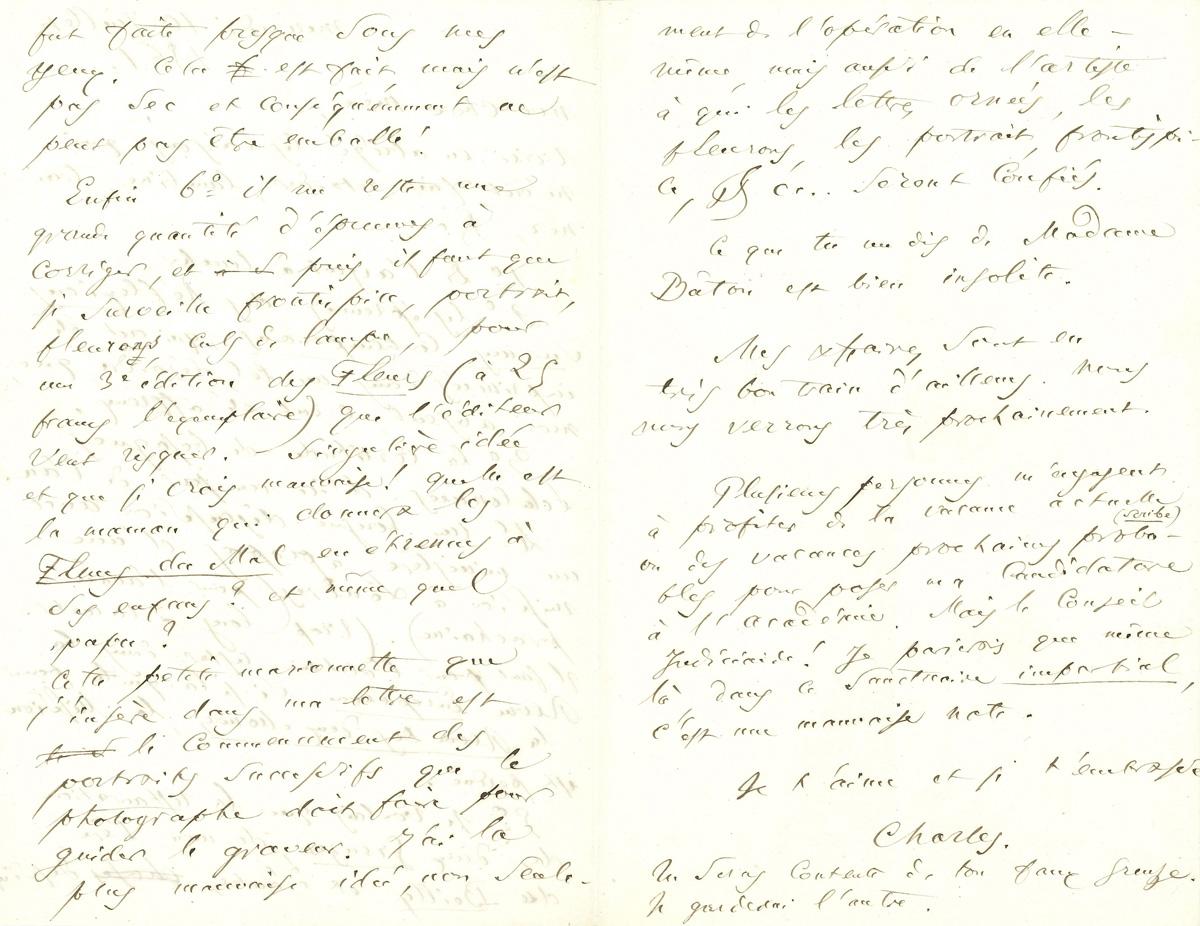 Charles Baudelaire(1821-1867), lettre autographe à sa mère, Caroline Aupick (1793-1871), datée du 3juillet 1861, troispages. Adjugé: 8