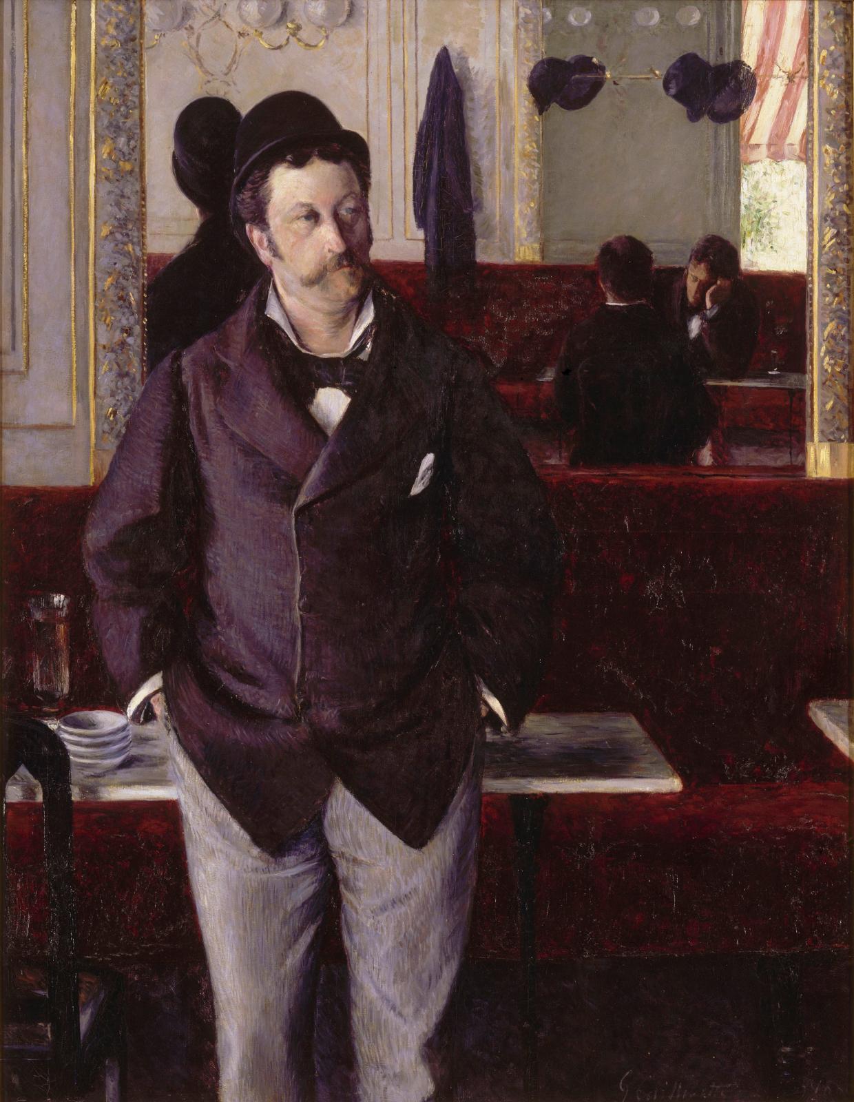 Gustave Caillebotte, Au café, 1880, huile sur toile, 155 x 115 cm, musée des beaux-arts de Rouen, dépôt du musée d'Orsay.© RMN, Grand Pal