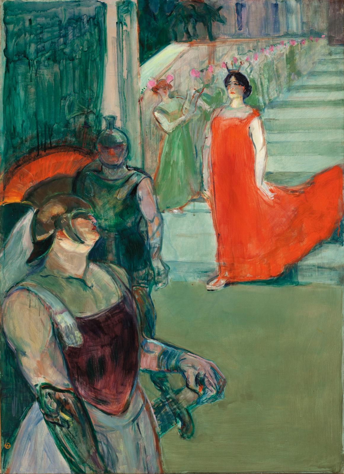 Henri de Toulouse-Lautrec (1864-1901), Messaline descend l'escalier bordé de figurants (l'opéra Messaline à Bordeaux), 1900-1901, huile su