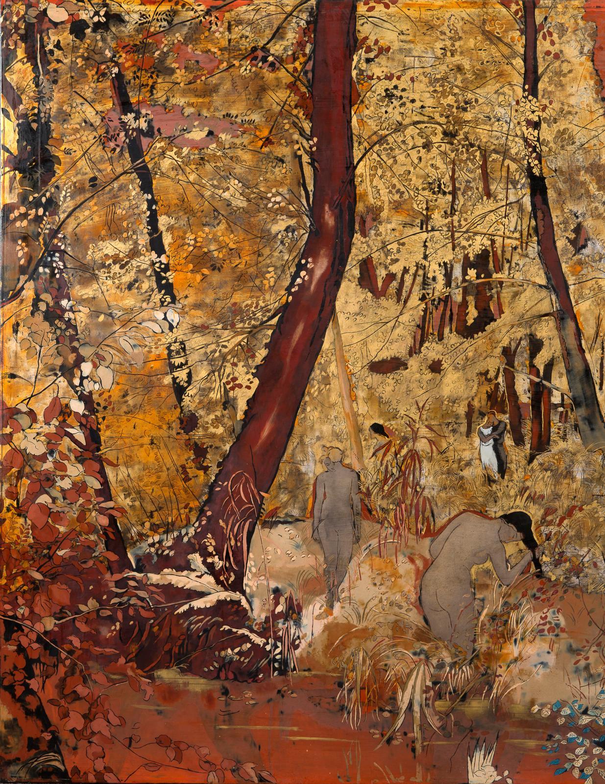 Alix Aymé (1894-1989), Baigneuses, laque, 125x200cm (détail). Lundi 9 décembre, salle 9, à 14h15. AguttesOVV. Mme Reynier-Aguttes. E
