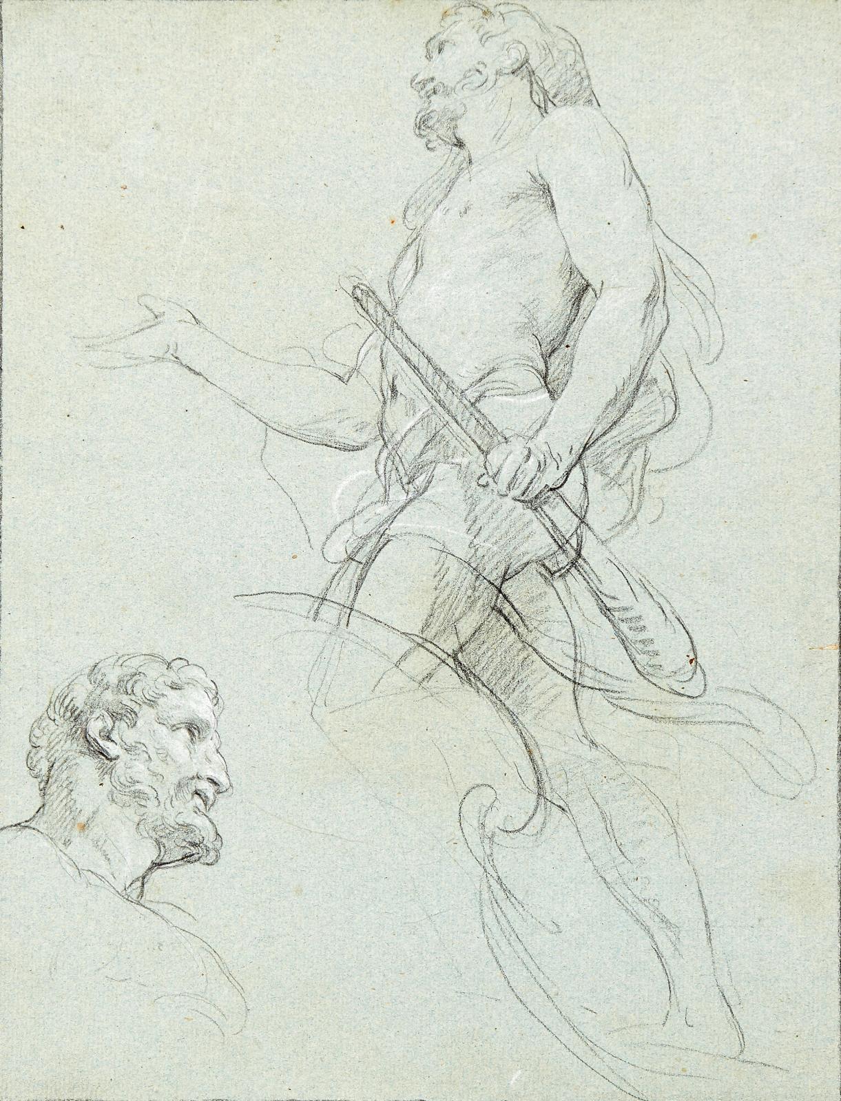 François Lemoyne(1688-1737), Étude pour une figure d'Hercule, pierre noire et craie blanche sur papier bleu, 31,5x24cm. Adjugé: 6604