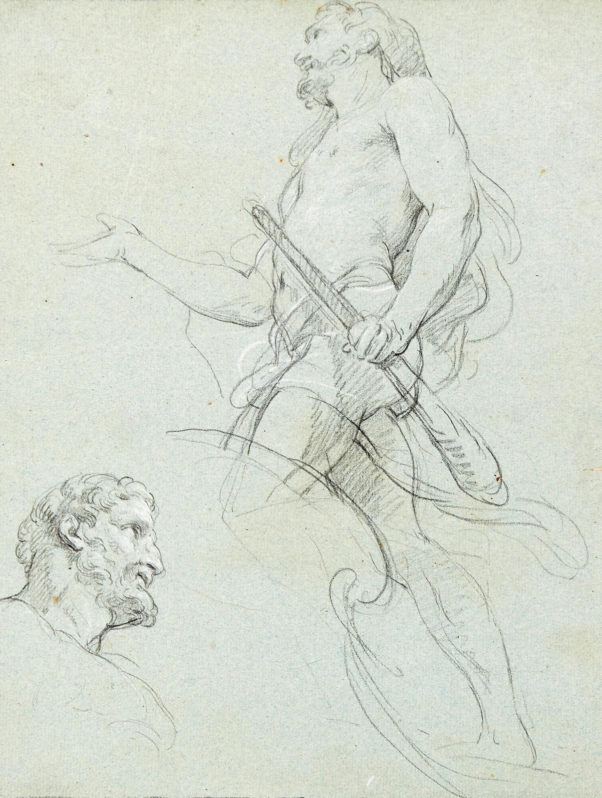 François Lemoyne (1688-1737), Study for a figure of Hercules, black and white chalk on blue paper, 31.5 x 24 cm.Result: €66,040