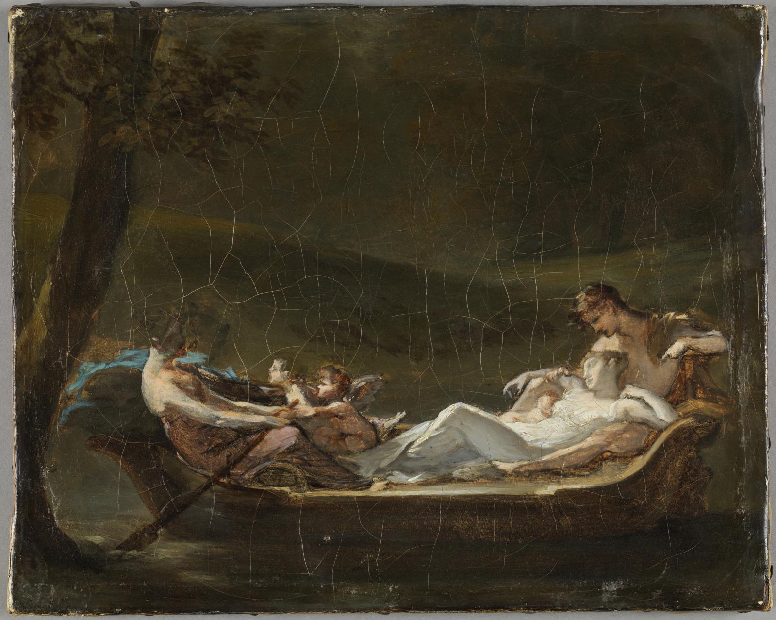 Pierre-Paul Prud'hon, esquisse pour Le Rêve du bonheur, 1818-1819, huile sur toile, 24 x 30 cm. © Musée du Louvre / Philippe Fuzeau