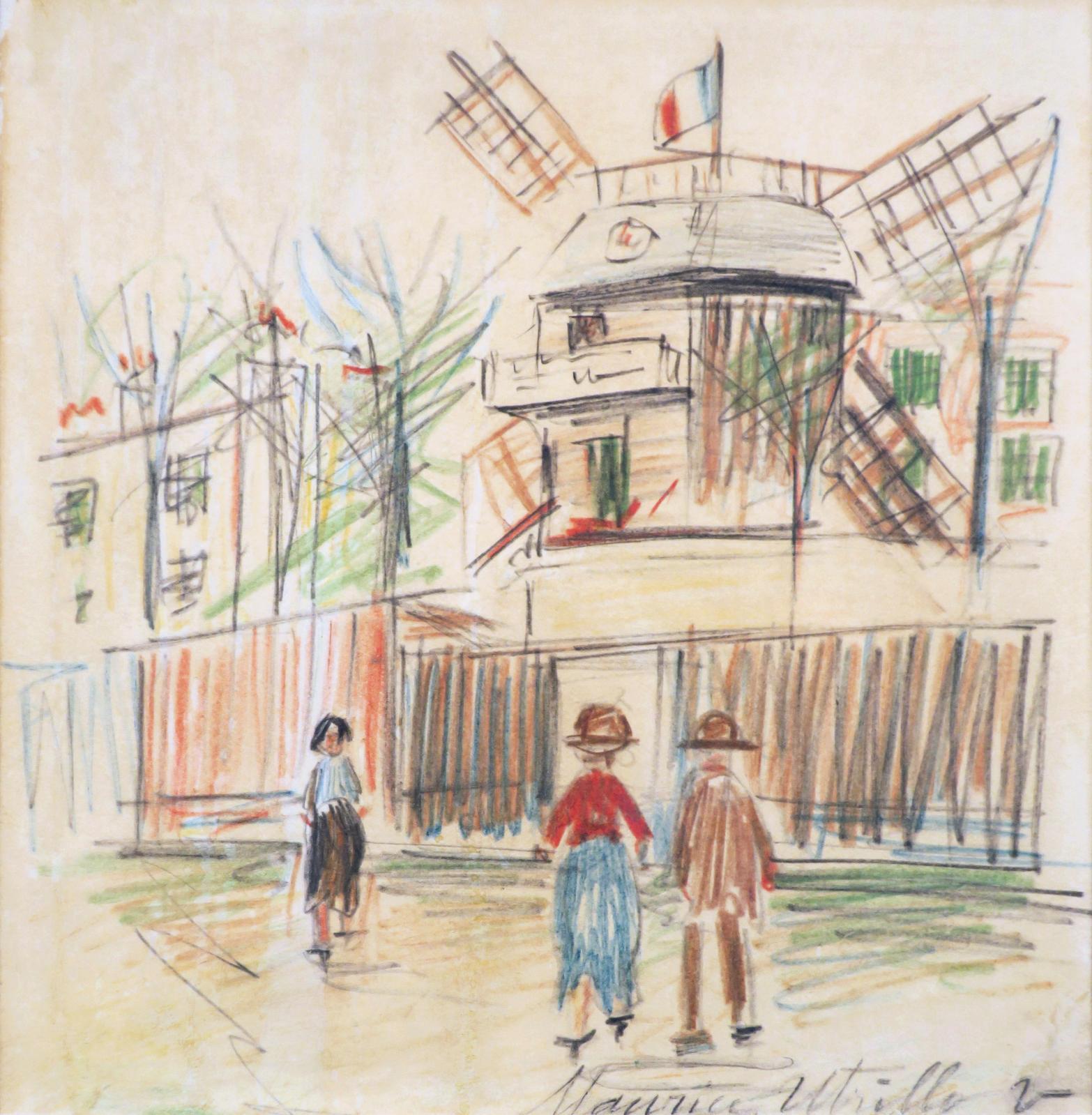 Maurice Utrillo (1883-1955), Montmartre, le moulin de la Galette, vers 1934, dessin aux crayons de couleur, 23x22cm. Troyes, 26 janvier