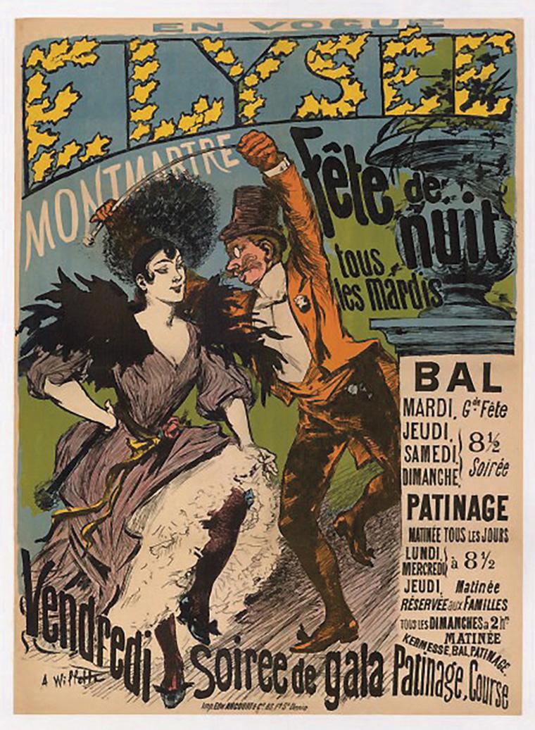 Adolphe Willette (1857-1926), Élysée Montmartre, fête de nuit, affiche entoilée, 80x120cm. Paris, Drouot, 29 avril 2016. Tessier & Sarr