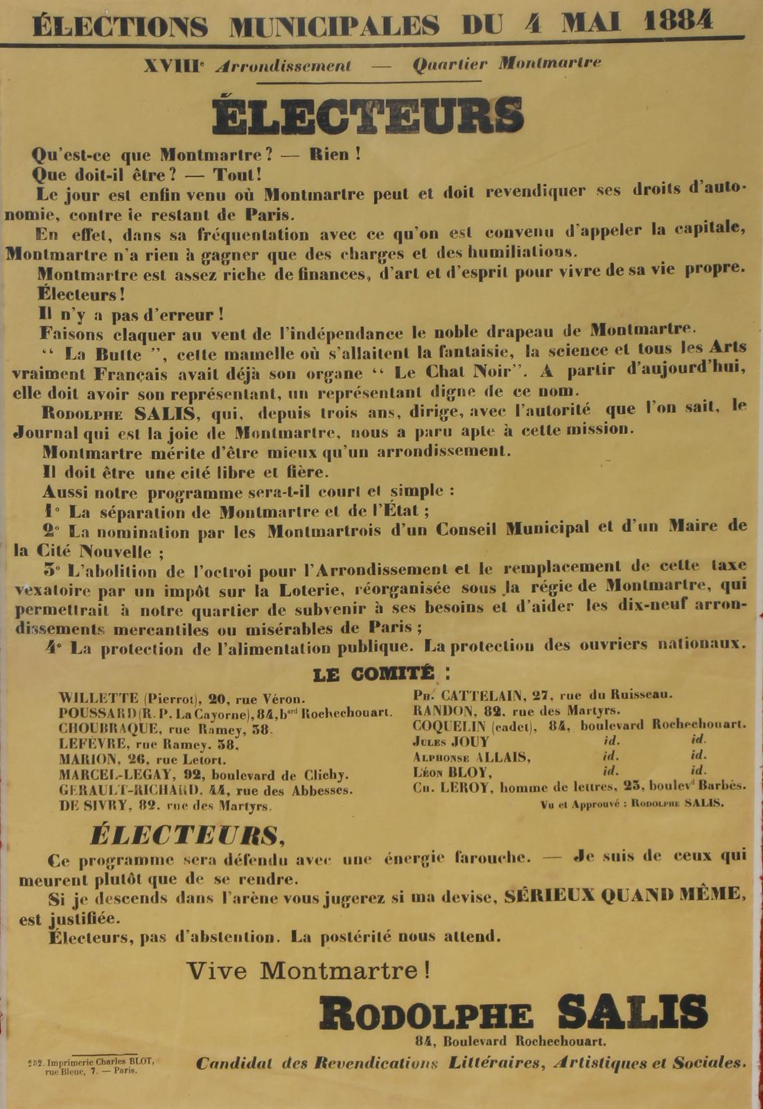 Rodolphe Salis (1851-1897), élections municipales du 4 mai 1884, XVIIIe arrondissement, quartier Montmartre, affiche imprimée en noir par