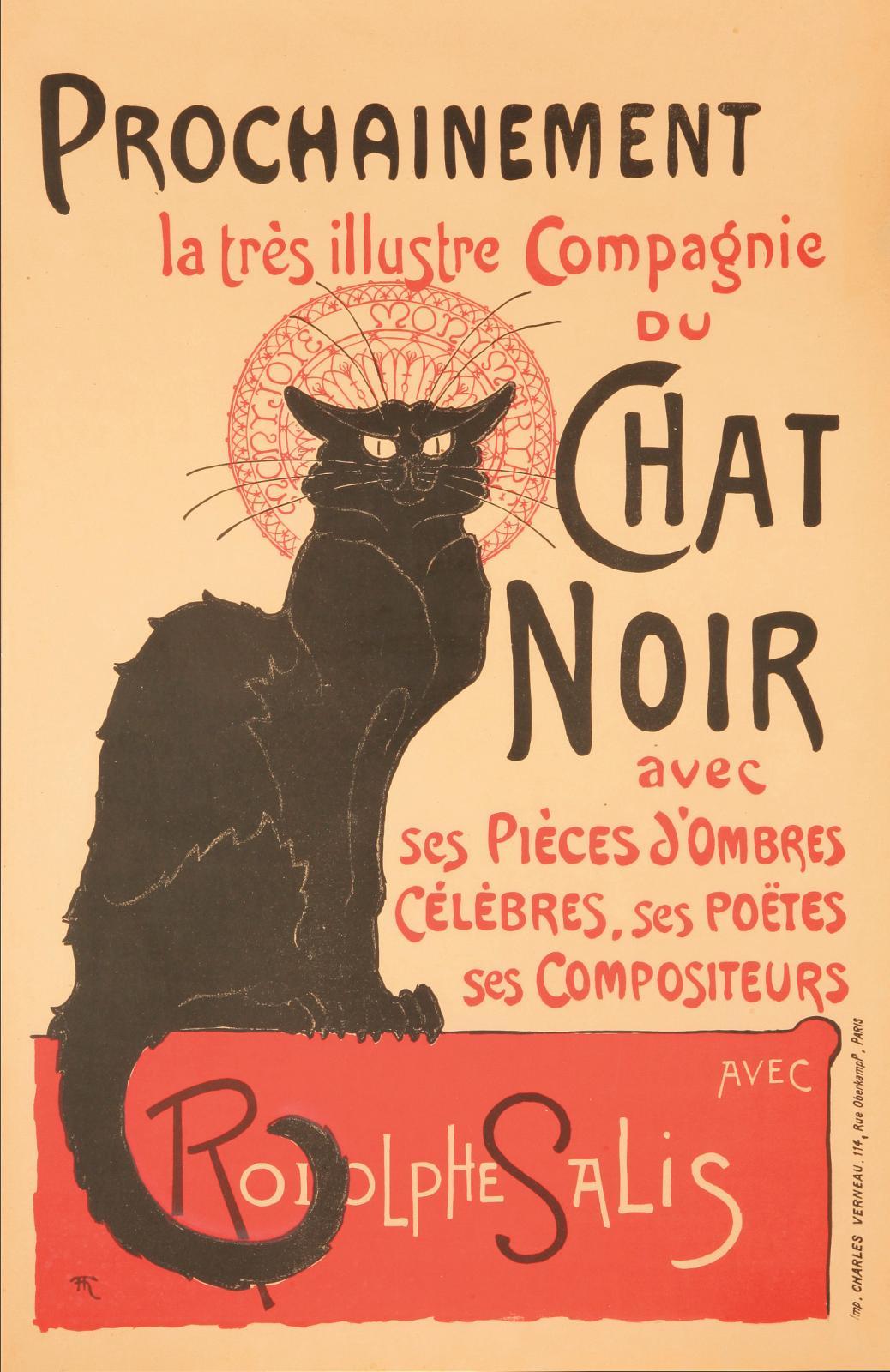 Théophile-Alexandre Steinlen (1859-1923), Prochainement la très illustre Compagniedu Chat Noir…, 1896, affiche de librairie, imprimerie Ch
