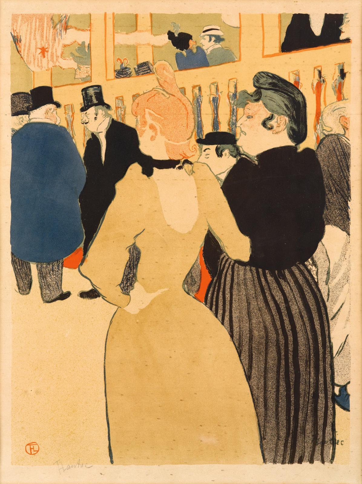 Henri de Toulouse-Lautrec (1864-1901),Au Moulin-Rouge, la Goulue et sa sœur, 1892, lithographie en couleurs, impression Delteil, 52x40,