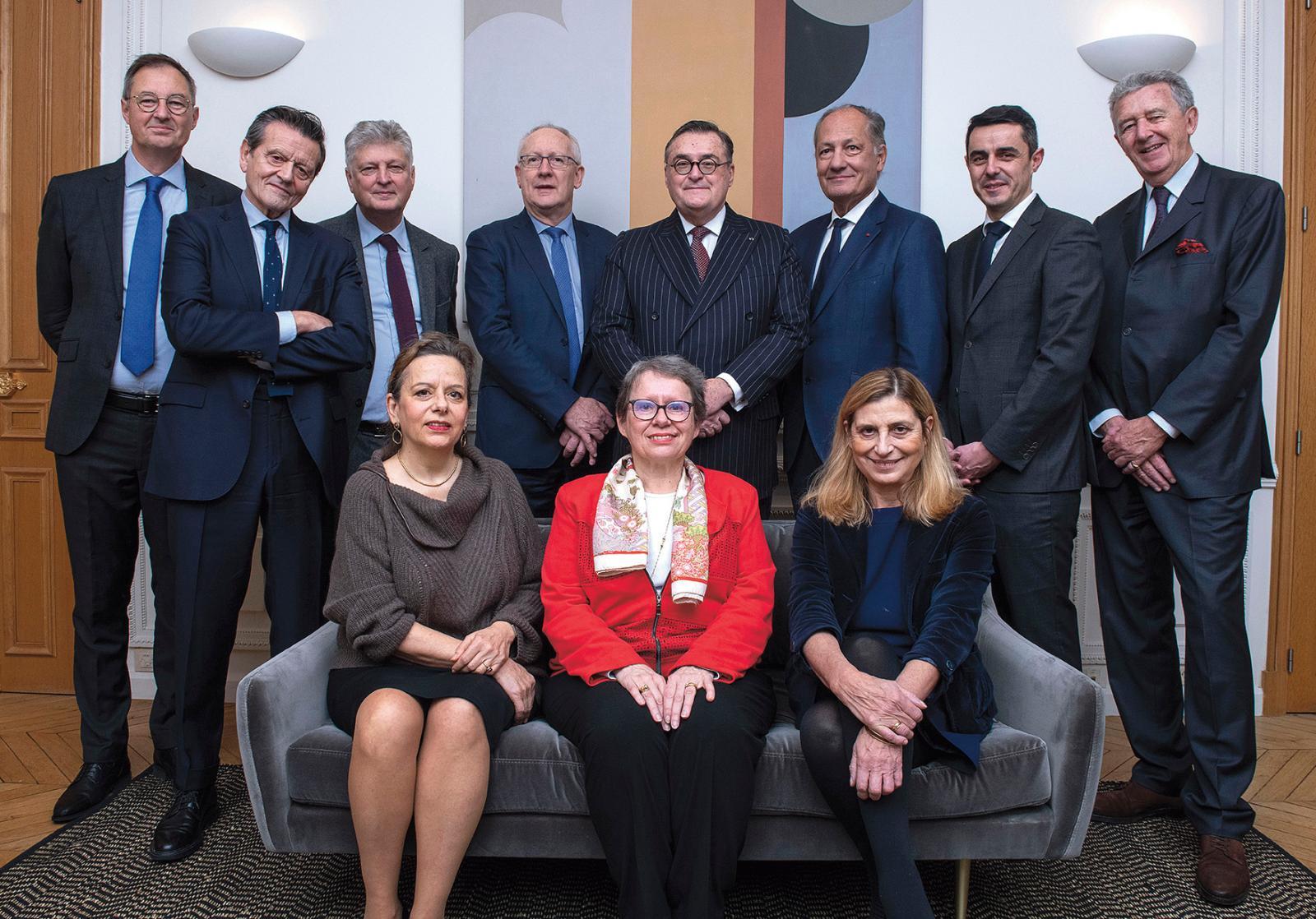 Le nouveau Conseil des ventes volontaires, de gauche à droite et de haut en bas: Dominique Soinne, Frédéric Castaing, François Tajan, Chr