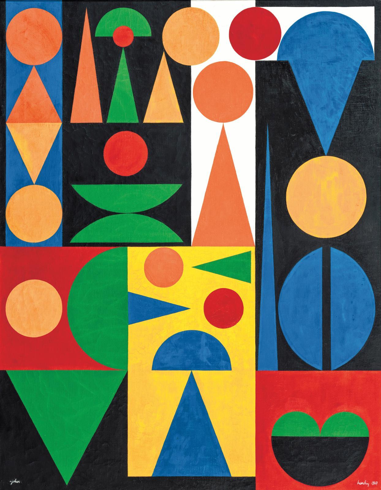 Auguste Herbin (1882-1960), Joker, huile sur toile signée et datée 1947, 120x95cm (détail).Adjugé: 204400€