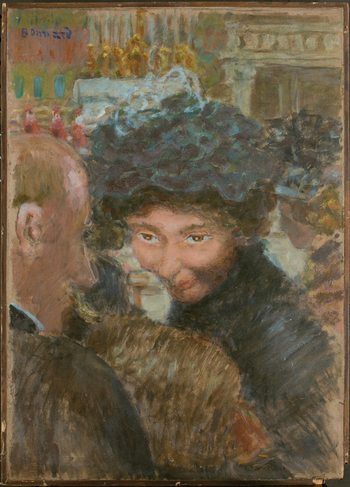 Pierre Bonnard (1867-1947), Rue à Paris, vers 1895, huile sur carton contrecollé sur panneau parqueté, 49,5x35cm (carton), 50,5x36cm