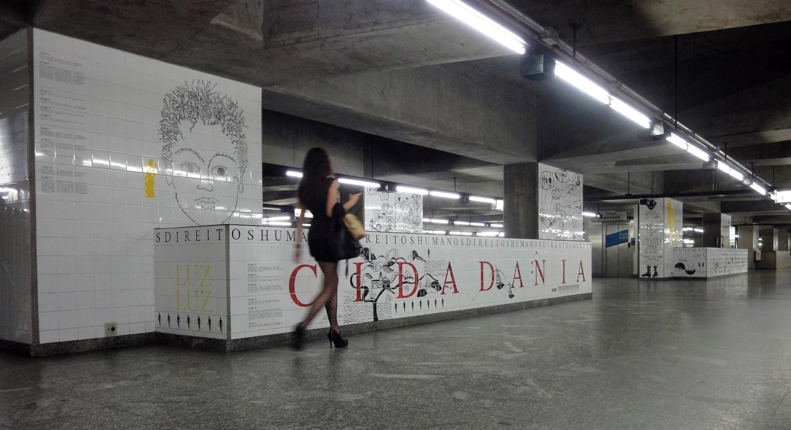 La station Luz de São Paulo (achevée en 2017), œuvre participative pérenne, créée avec plus de 1000jeunes des favelas de la ville. 500 m