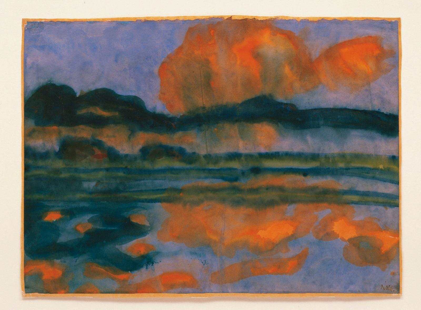 Emil Nolde, Reflets de nuages dans le marais, 1935, aquarelle sur papier japonais. ©Photo Würth/Schmid Inv 1