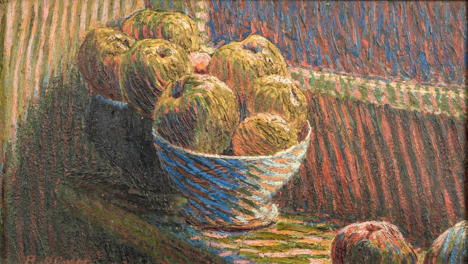 Roderic O'Conor (1860-1940), Nature morte aux pommes, vers 1893, huile sur carton, 35x60cm. Estimation: 30000/40000€