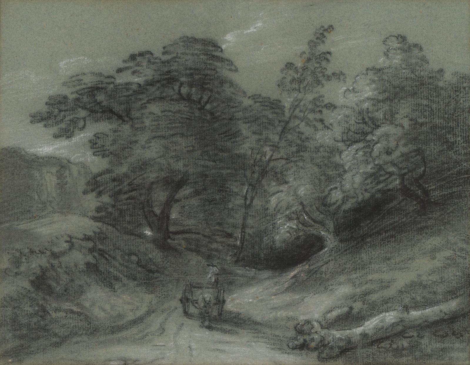 Thomas Gainsborough(1727-1788), La Charrette dans le chemin creux, pierre noire et rehauts de craie blanche sur papier bleu, 21,5x28,2