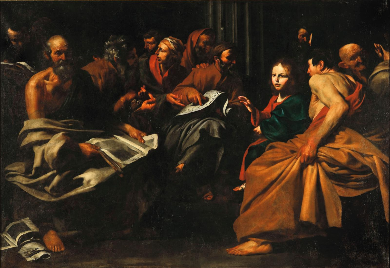 Jusepe de Ribera, Jésus parmi les docteurs, 1613, 210x288cm. Langres, musée d'Art et d'Histoire de Langres.© Sylvain Riandet- Ville de