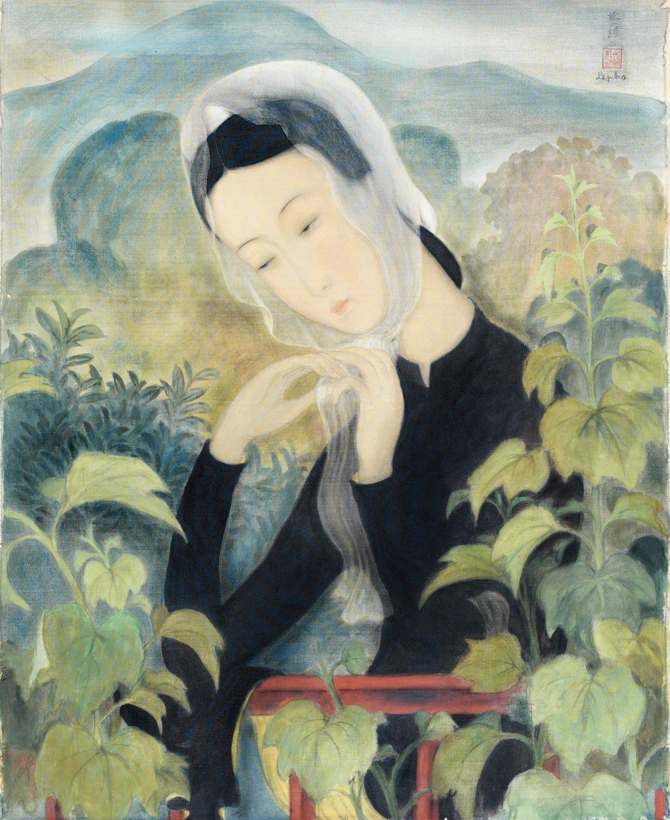 Jeune Femme attachant son foulard, vers 1938, gouache et encre sur soie, 68x50cm.Paris, Drouot, 8 décembre 2010. Thierry deMaigret. M.
