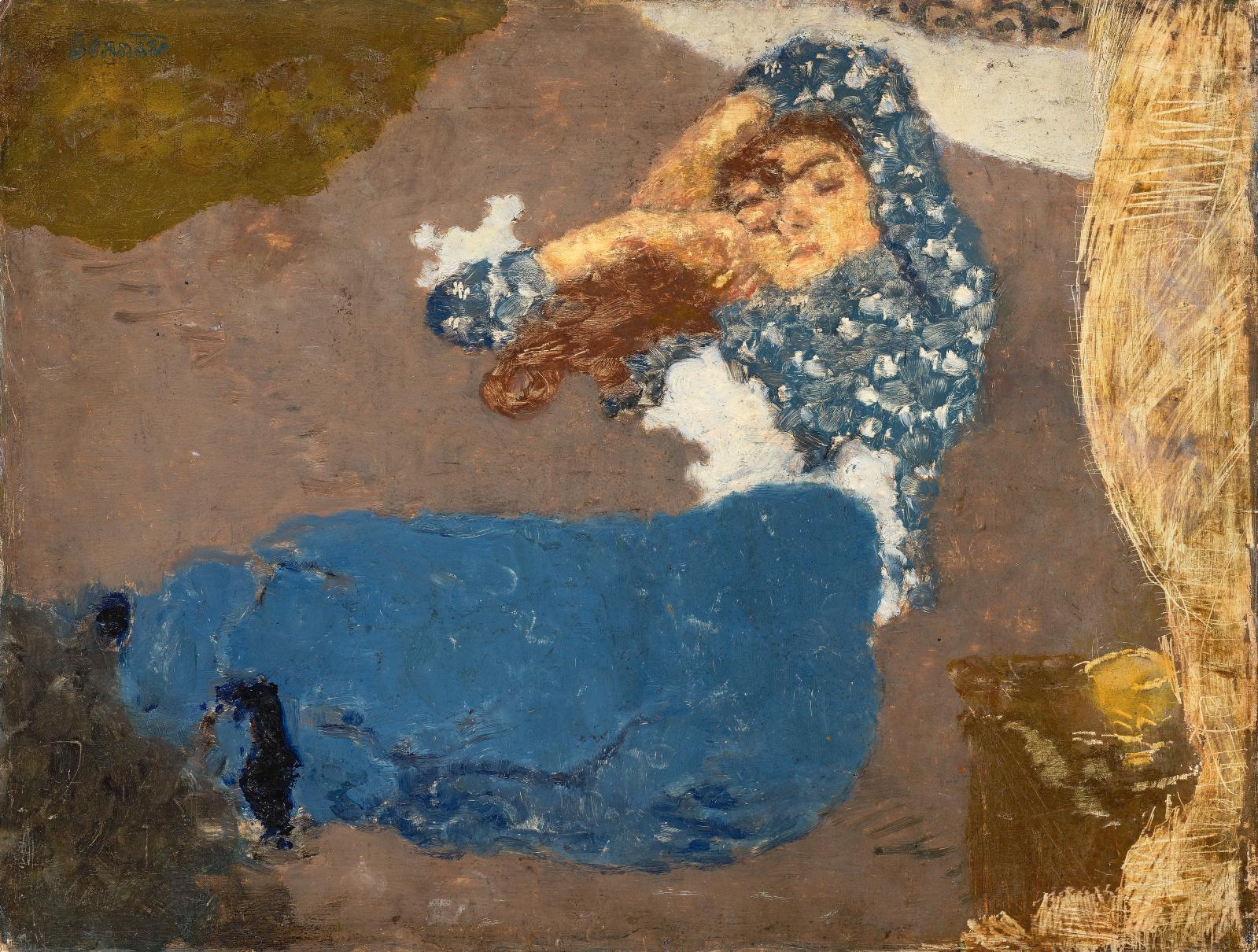 Pierre Bonnard, Jeune femme endormie, 1894, huile sur carton, 27 x 35 cm. GalerieAlexis Pentcheff