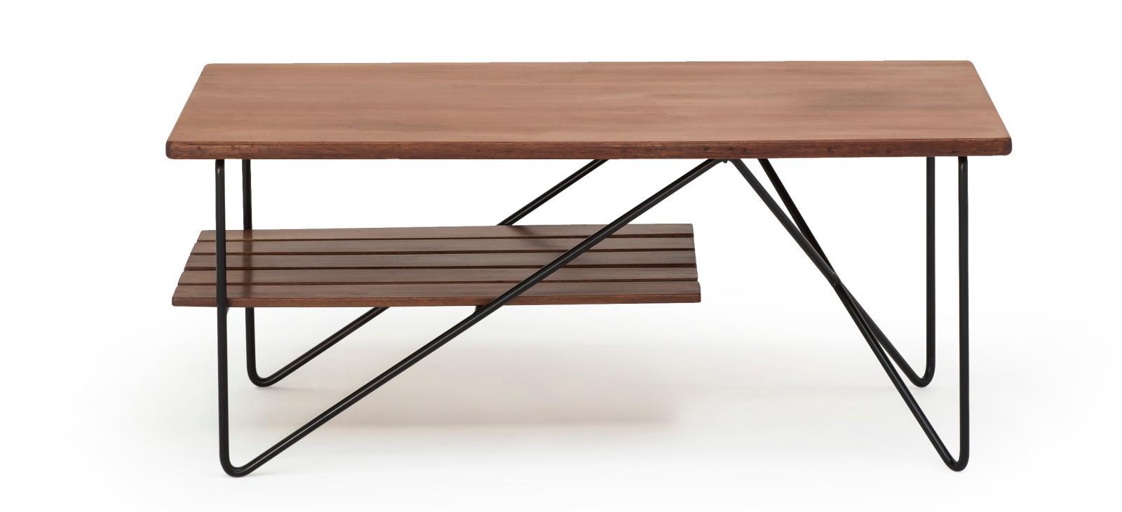 René-Jean Caillette, table basse en acajou et métal laqué, édition Charron, Groupe 4, 1954, 42x100x43cm. Courtesy galerie Pascal Cuis