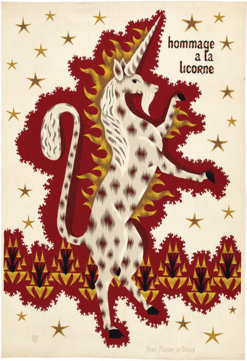 5850€ Jean Picart Le Doux (1902-1982), tapisserie «Hommage à la licorne», 1964, laine polychromée à fond crème parsemé d'étoiles à décor