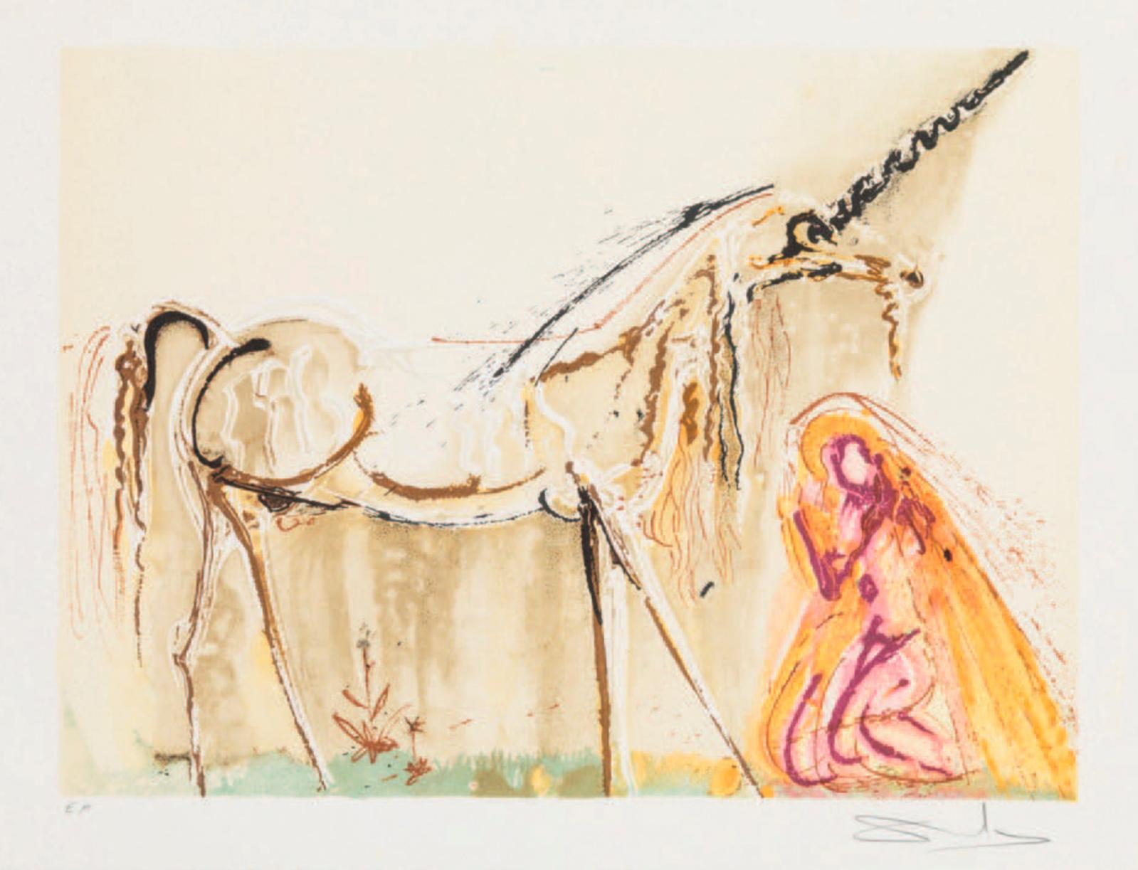 501€ Salvador Dalí (1904-1989), La Licorne, lithographie,54x74cm.Paris, Drouot, 28novembre 2018. Kohn Marc-ArthurOVV.
