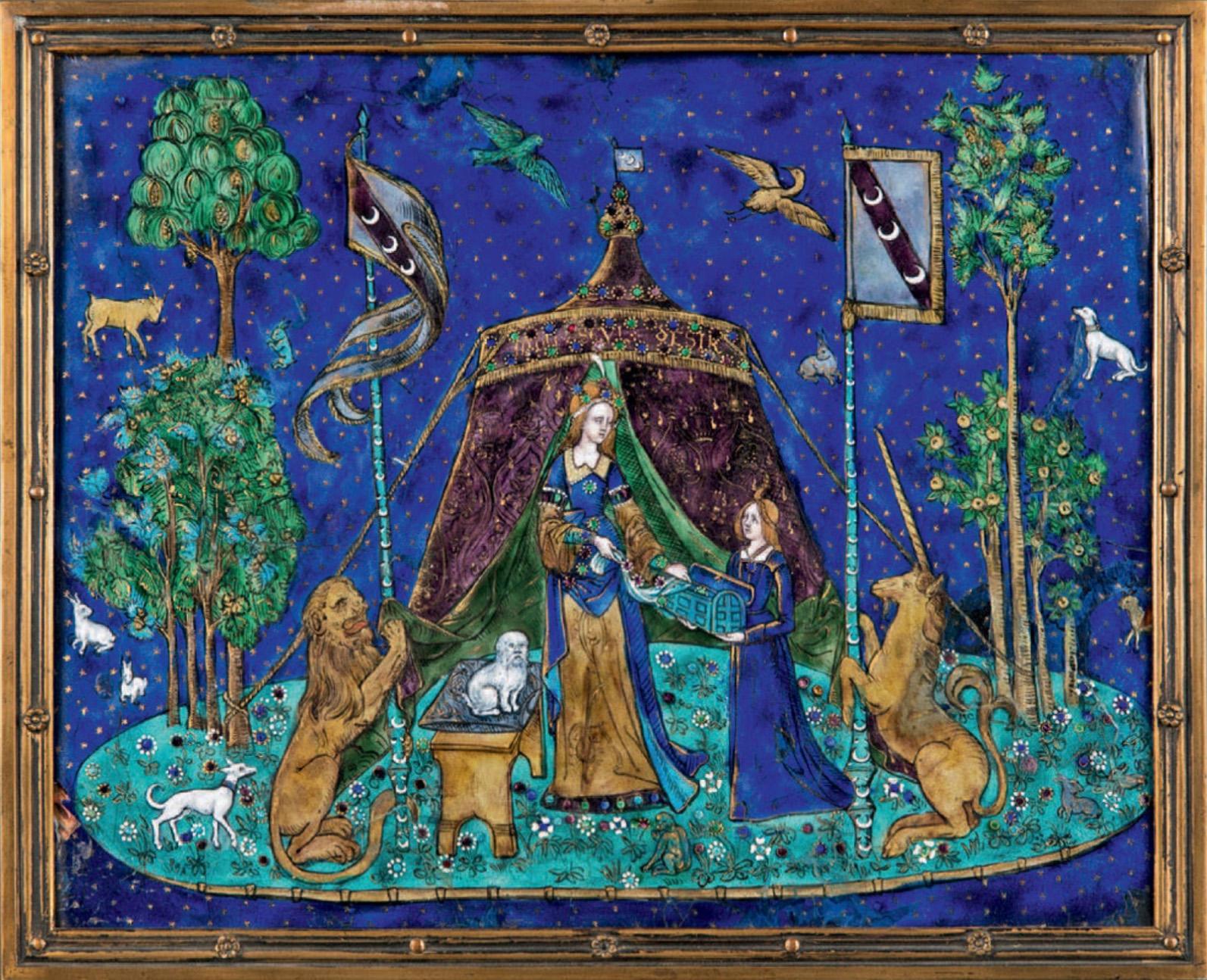 1375€ Importante plaqueen émaux peints représentant«La Dame à la licorne», XIXesiècle, cadre en bronze doré rythméde fleurettes, 22