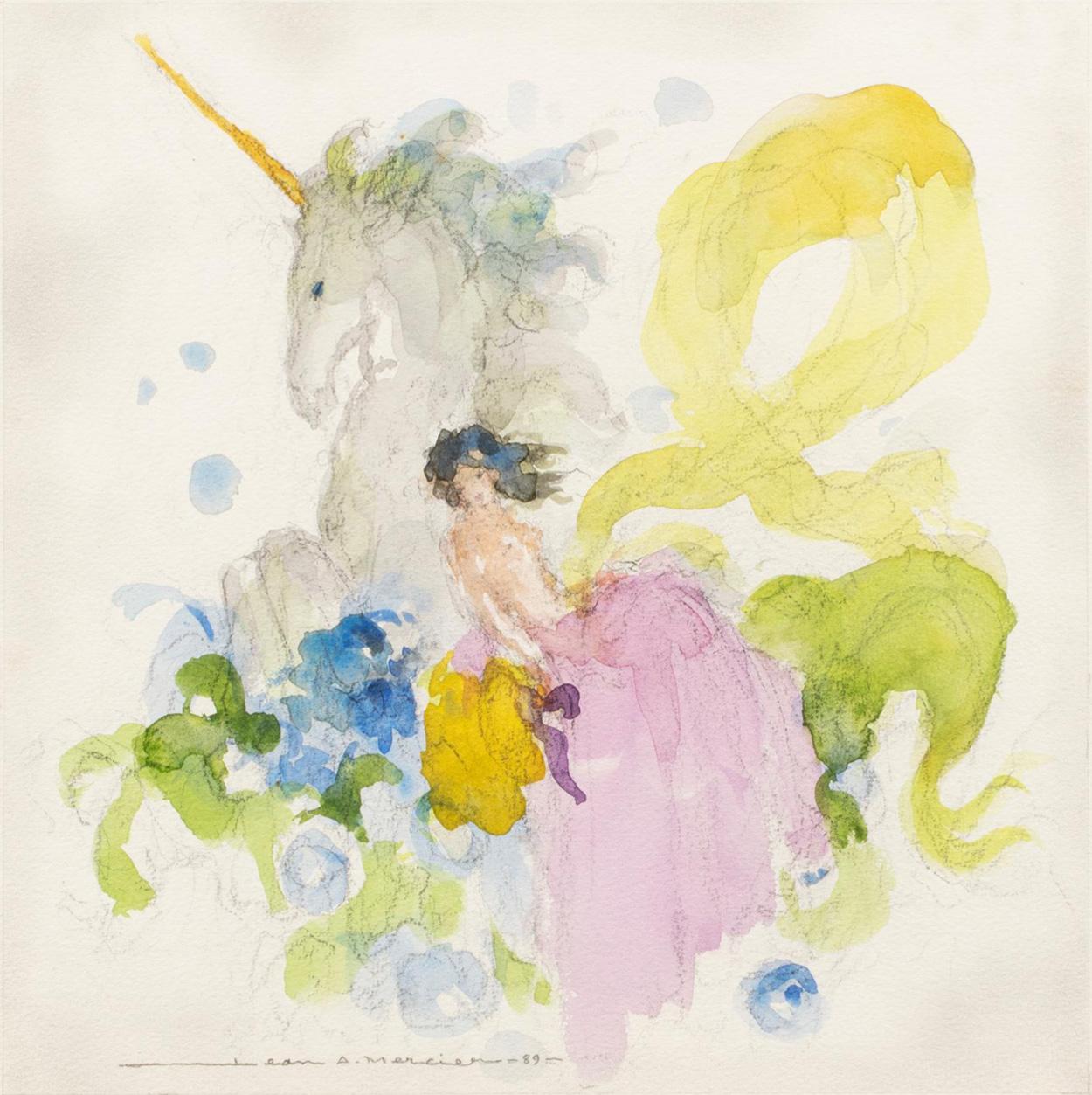 494€ Jean-Adrien Mercier (1899-1995), Femme à la licorne, 1989, aquarelle et traits de crayon, 29,5x29,5cm. Paris, salleV.V., 21octo