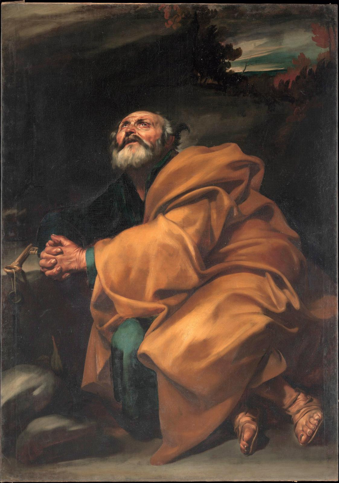 Jusepe de Ribera, Les Larmes de saint Pierre, huile sur toile, 1612-1614, New York, The Metropolitan Museum of Art. © New York, The Metrop