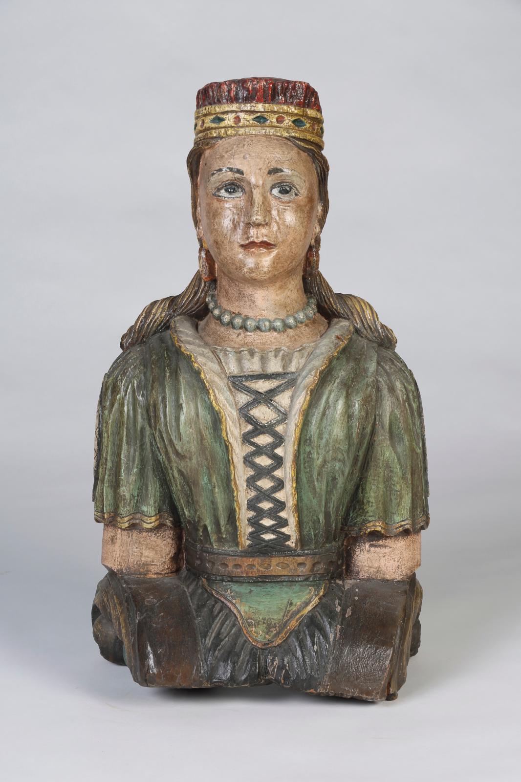 XIXesiècle. Figure de proue, buste de femme à cheveux courts, en chêne avec traces de polychromie, h.83cm. Estimation: 2500/3000€