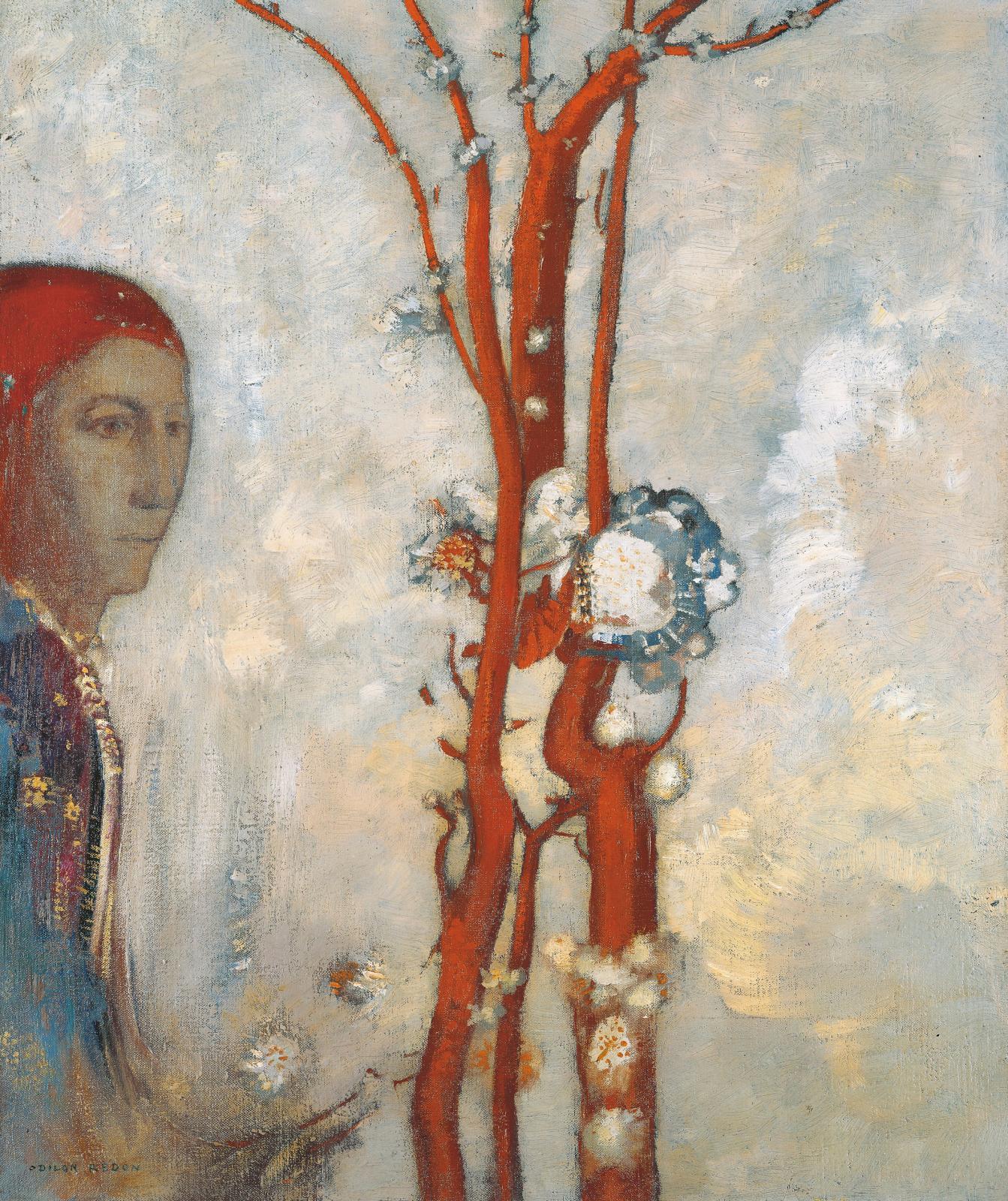 Odilon Redon (1840-1916), La Fleur rouge, dit aussi Le Buisson rouge, vers 1905, huile sur toile, 55x48cm. ©Droits réservés