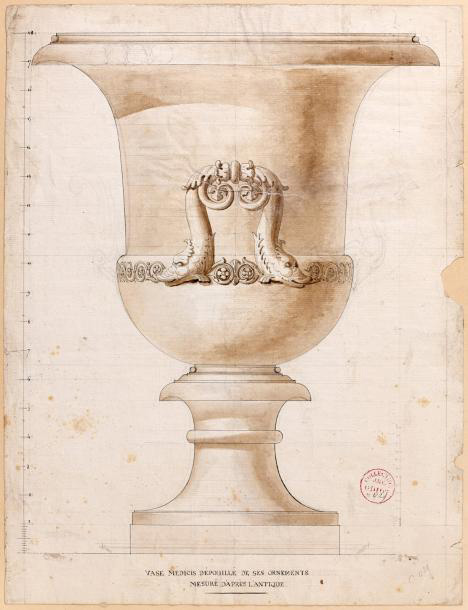 €1,275Medici vase without its ornaments measured according to the Antique model, drawing in Indian ink, embellished with sepia, red stamp
