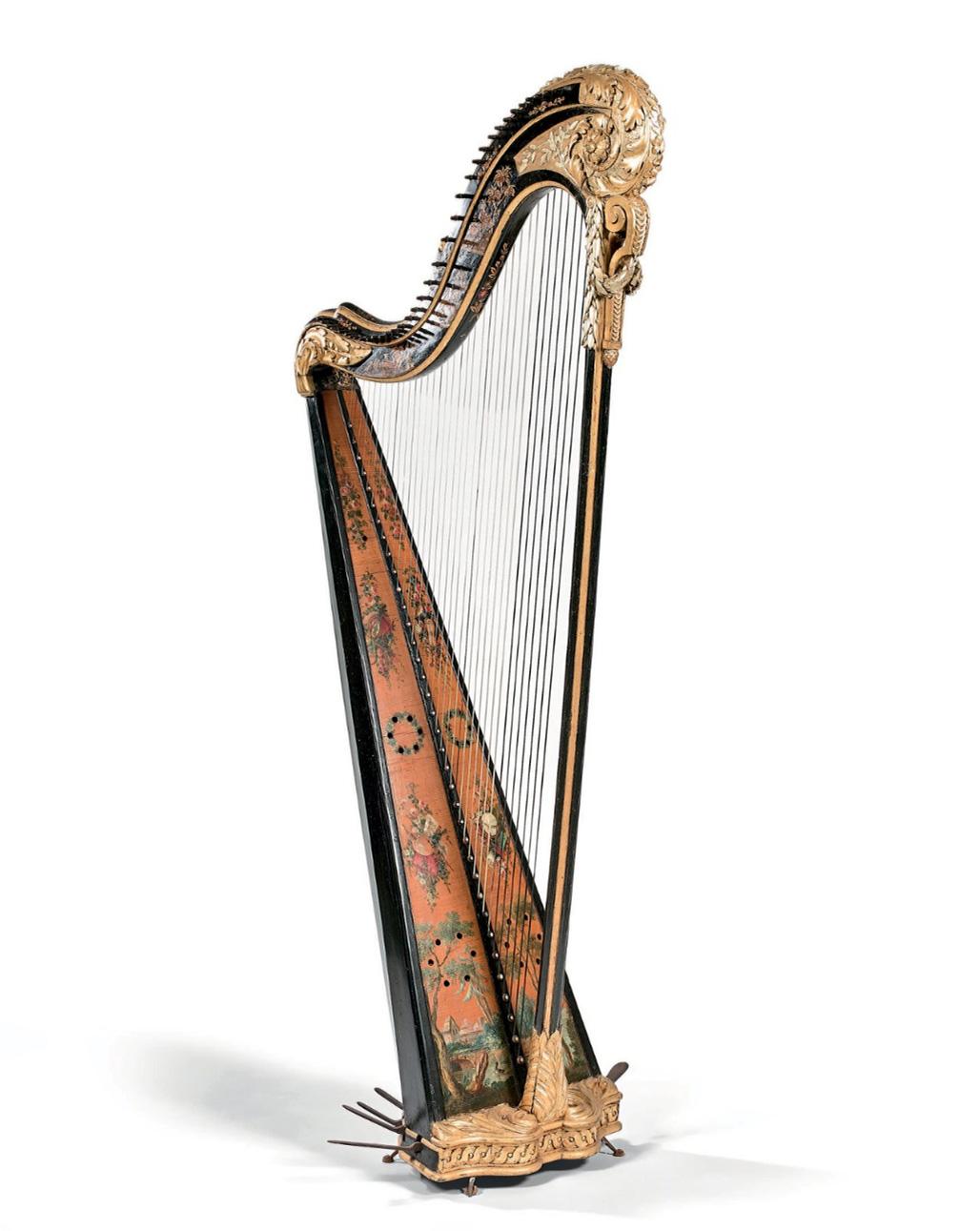 4347€ Naderman, fin XVIIIe-début XIXesiècle, harpe à 36cordes,bois redoré, sculpté et laqué, 161x54x64cm.Drouot, 17juin 2019. L
