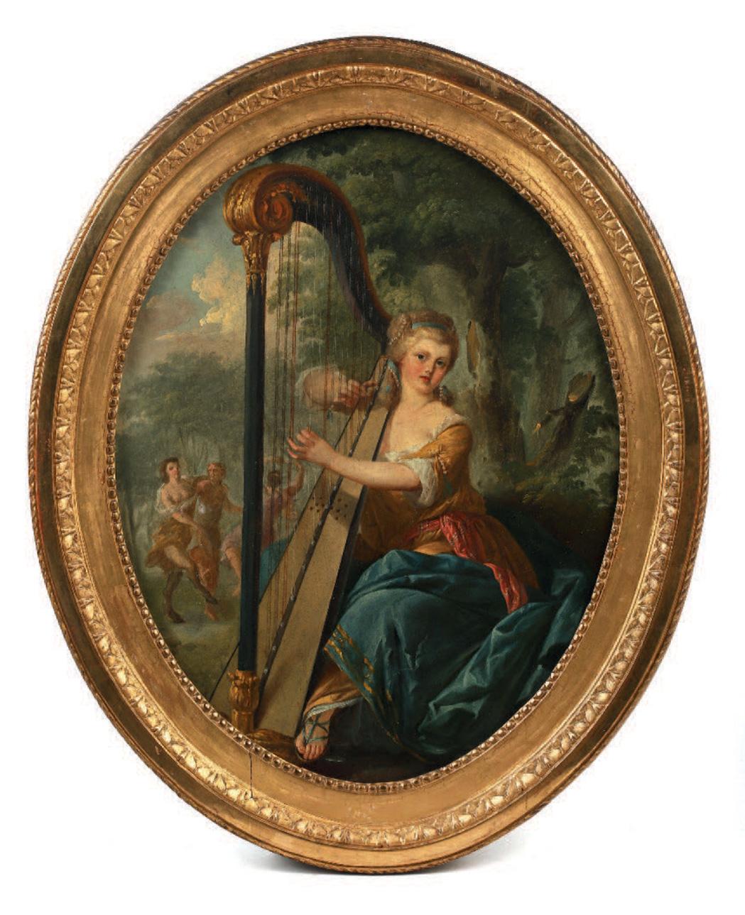 1512€ Attribué à Jean-Baptiste Huet(1745-1811), Jeune femme à la harpe devant une bacchanale dans un jardin, huile sur toile, 50x39c